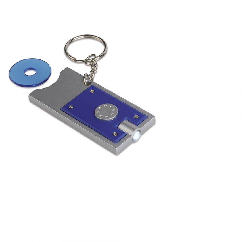 COIN HOLDER KEY CHAIN WITH LED LIGHT