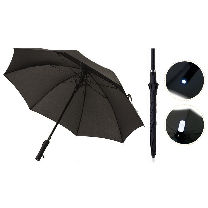 """WINDPROOF UMBRELLA 23"""" WITH TORCH"""