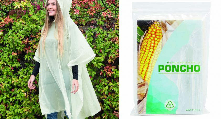 COMPOSTABLE AND BIODEGRADABLE RAIN PROOF PONCHO