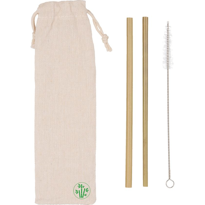 ENVIRONMENTALLY FRIENDLY BAMBOO DRINKING STRAWS SET