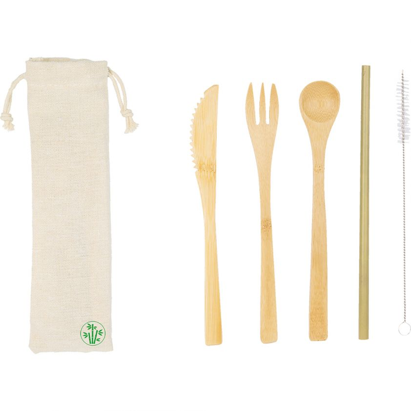 ENVIRONMENTALLY FRIENDLY BAMBOO CUTLERY SET
