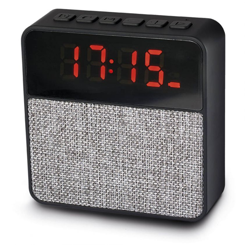 BLUETOOTH SPEAKER WITH LED ALARM CLOCK AND FM AUTO SCAN
